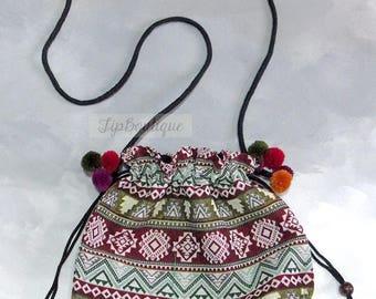 Small Drawstring Cross Body Bag Bucket Shoulder Crossbody Purse Sling Ethnic Graphic with Pom Pom for Girl Cotton Fabric Green Dark Red