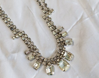 Vintage Baguette Rhinestone Necklace 1940s rhinestone necklace rhinestone bib necklace Diamante necklace Cocktail Jewelry Bridal necklace