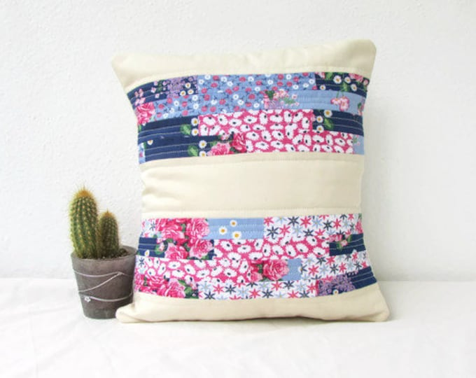 Modern quilted pillow cover, blue and pink, handmade in the UK