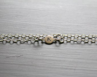 Sterling Silver Simple K Initial Bracelet, Silver Stamped K Bracelet, Stamped K Initial Bracelet, Small K Initial Bracelet, K Bracelet