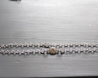Sterling Silver Simple A Initial Bracelet, Silver Stamped A Bracelet, Stamped A Initial Bracelet, Small A Initial Bracelet, A Bracelet