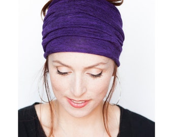 Purple Headband - Knit Headband WIde Headband Tube Headband Workout Headband Boho Headband Wide Headwrap Dreadlocks Yoga Headband