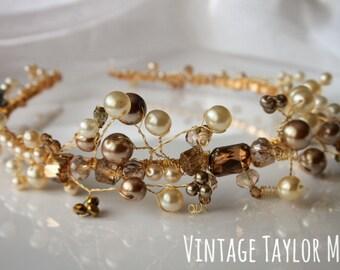 Bridal Tiara Ivory Pearl Gold Faux Crystal Vintage Beaded Gold Plated Wedding Headband Hair Accessory
