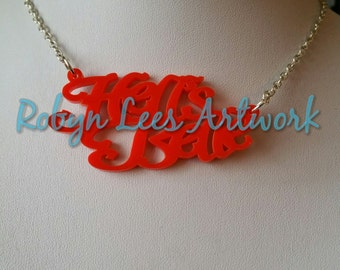 Red Hell's Belle Laser Cut Acrylic Word Necklace on Silver, Gold or Black Chain. Biker, Tattoo, Rebel