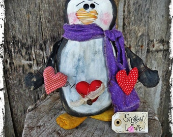Primitive Penguin Folk Art Doll, Valentine Gift, Winter Home Decor, OFG FAAP