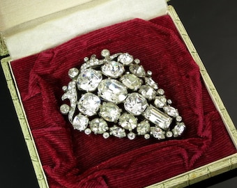 Vintage Fur Dress Clip Eisenberg Original Massive Clear Crystal Rhinestone Silver Tone