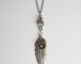 Feather Necklace | Stainless Steel | Mixed Metal | Labradorite Gemstone