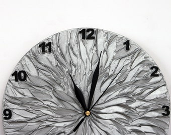 Silver Decor Wall Clock, Unique Wall Clock, Modern WALL CLOCK, silver clock, silver gray Gift for Him, Wedding gift, Office decor, man cave