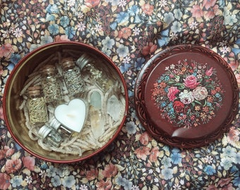 Vintage Floral Tin Altar Supply Kit