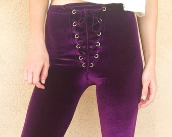 Lace Up Velvet Flares, Bell Bottoms, High Waist, High Rise, Made to Order, Purple, Solid Velvet, Flare Pants, Grommets