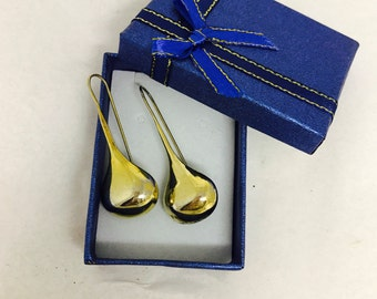 Vintage RM 925 Gold Washed Sterling Silver Raindrop Earrings