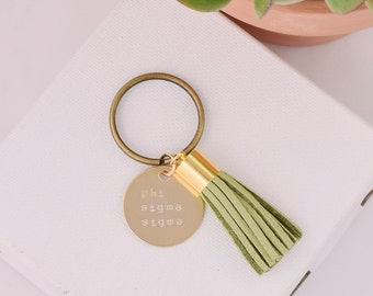 Phi Sigma Sigma Sorority Keychain, Personalized Phi Sig Sorority Key Chain, Phi Sigma Sigma Sorority Tassel Keychains, Big Little Keychain