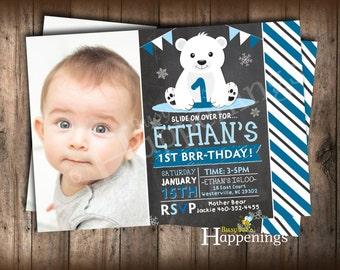 Polar Bear Birthday Invitation Winter Birthday Invite Bear Birthday Invite Artic Invite Winter Onderland Digital File Busy bee's Happenings