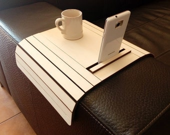 Laser cut wood arm rest table with cell phone stand,sofa table,sofa tray,modern side table,sofa arm table,couch arm table,lounge tray table