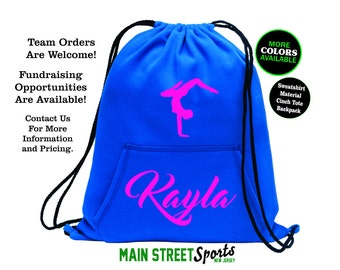 GYMNASTICS BAG with Name. Gymnastics Tote. Gymnastics Cinch Bag. Gymnast Bag. Gymnastics Backpack. Gymnast Tote. Sports Bag. Dance Tote.