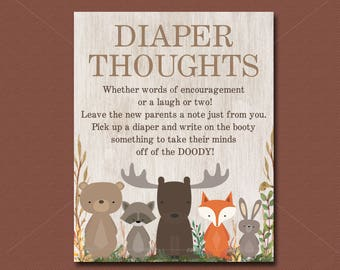 Woodland Baby Shower Game, Diaper Thoughts game, Late Night Diaper Game Sign, Forest animals Baby Shower, INSTANT DOWNLOAD  016