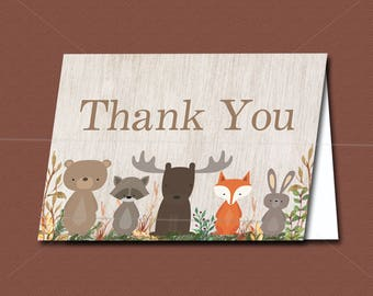 Woodland baby shower Thank You Card Printable, Forest Baby Shower - Forest Animals, Watercolor, INSTANT DOWNLOAD 016