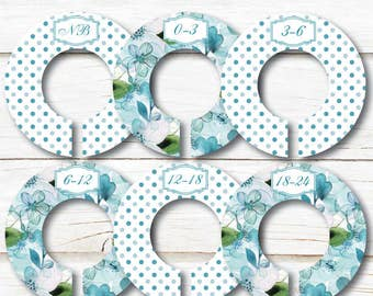 Floral Closet Dividers, Baby Closet Dividers, Teal Closet Divider, Closet Organizers, Baby shower gift, Girl Nursery, Teal Polka dots, C217