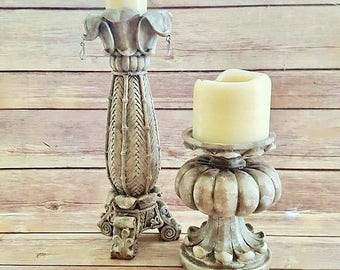 Ornate Candle Holders Antique White Acanthus Leaf French Country Farmhouse Up Cycled Eco Friendly READY TO SHIP