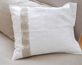 Linen PILLOWCASE, Stonewashed linen pillow case, Softened linen pillow slip with french lace, Romantic linen pillow cover, Linen pillow slip