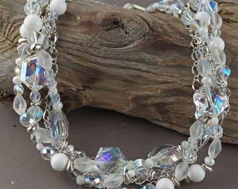 Chunky multi-strand necklace, vintage style necklace, vintage style jewelry, womens chunky necklace, beads and chain necklace, multi-strand