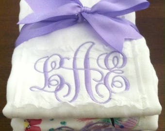 Butterflies and Lace Burp Cloth Set in Lavender with Optional Embroidery Personalization