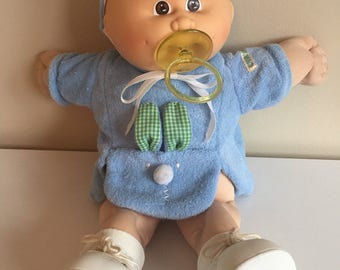 Vintage Cabbage Patch Doll Preemie Baby Boy 1985 Blue Terry Bunny Outfit Paci