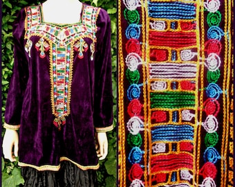 Vintage Velvet Top Blouse Ethnic Beautiful Embroidery Purple  Algerian Folk Pixie Braided Hippy Festival  India  Bust up to 40.5 UK 12-14""