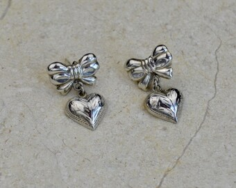 Vintage Sterling Silver Heart and Bow Post Earrings with Etched Design, Excellent Quality