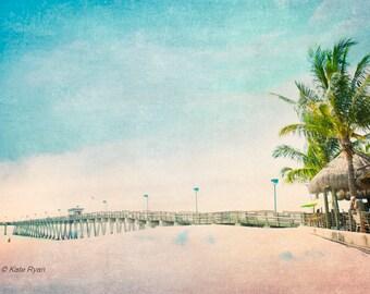 Fishing Pier, Beach Art, Beach Decor, Wall Art Photography, Coastal Art, Beach Life, Beach Photo, Summer Decor, Large Prints, Palm Tree Art