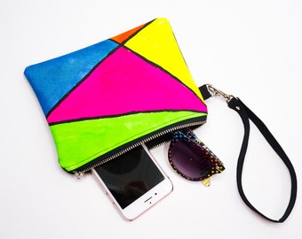 80s Fashion, 80s Inspired Color Block Wristlet Clutch, Neon Wristlet Purse, Small Purse, Wristlet Wallet, Clutch Purse, Clutch Bag