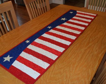 Quilted Patriotic 4th of July Flag USA Table Runner