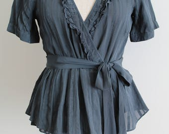 Teal Silk 1930s Style Wrap Blouse