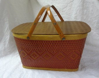 "Redmon Dark Red Woven Medium Picnic Basket for ""take out"" food!"