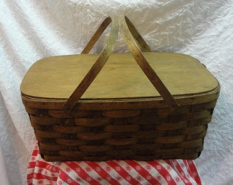 LARGE Dark Stained PICNIC BASKET