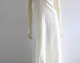 70's Vintage Natural Cotton Linen Empire Waist Rose Appliqué Crochet Trim Short Puff Sleeve