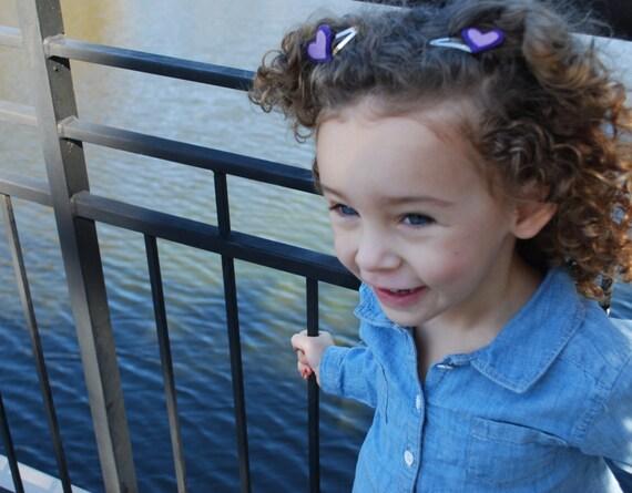 Girls Purple Heart Hair Clip Set - Heart Hair Clips - Felt Heart Hair Clips - Girls Hair Clips -Baby Girl Hair Clips-Kids Hair Clips