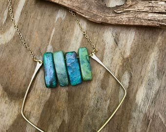 Bohemian/Hippie Chrysocolla Stones Hand Shaped Wire Pendant Necklace