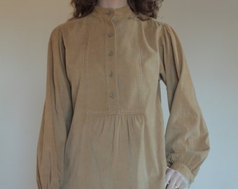 70's YSL corduroy peasant blouse with puffed sleeves and front pockets/ Saint Laurent Rive Gauche