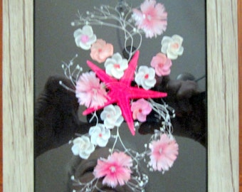 Grey shadow box with pink and white flowers and star fish