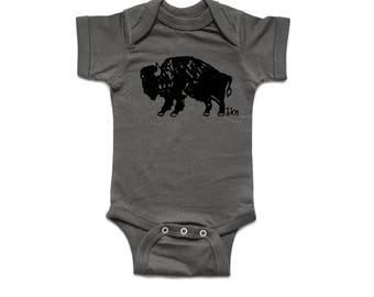 Baby Bodysuit / Bison / Charcoal / Rabbit Skins