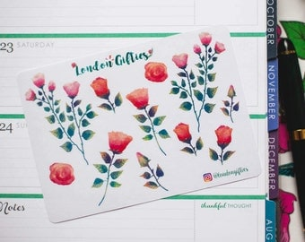 Vintage red & pink roses - decorative watercolour planner stickers suitable for any planner -373-