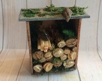 Dolls House Miniature Log Store - handmade