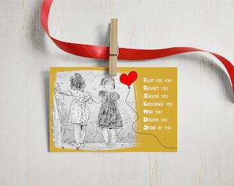 4x6 friends printable card, instant download, motivational prints, digital cards, best friend card, friendship printable