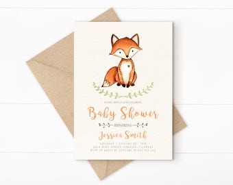 Woodland Baby Shower Invitation, Woodland Baby Shower, Fall Baby Shower  Invitation, Printable Forest