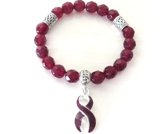 Burgundy Awareness Ribbon Infinity Glass Beaded Stretch Bracelet Multiple Myeloma Oral Cancer Brain Aneurysm Migraine Amyloidosis Diasabled