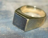 Reserved for Paul. Payment 2. Large signet ring, Black Haematite gents ring, heavy Black and gold, 9ct yellow gold,