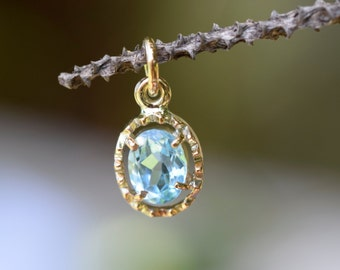Gold Topaz pendant, swiss blue topaz, natural earth mined gem, bridal wedding necklace, something blue, Valentines day, 4th anniversary gem