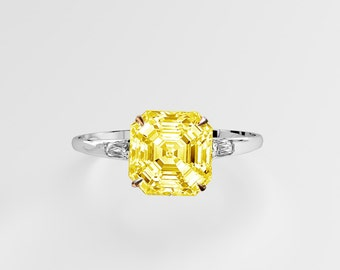 GIA YELLOW DIAMOND 18K Gold Engagement Ring