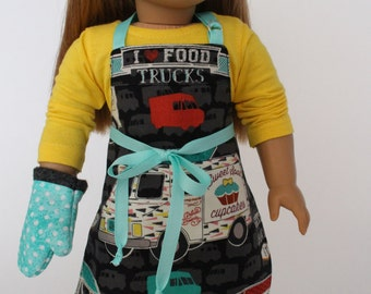 18 inch girl doll clothes - Cupcakes Food Truck Chef Apron with oven mitt